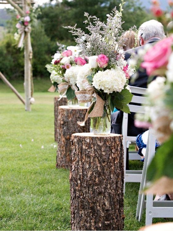 Un mariage champ tre justine huette cr atrice de jolis moments - Stump decorating ideas inspiration from nature ...