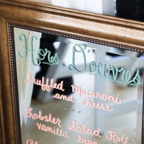 Des id es originales pour pr senter votre menu de mariage for Miroir paris menu