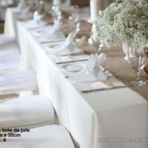 chemin de table Shabby-Chic-Jute-naturel-Jute-ruban-de-mariage-chemin-de-Table-location seine et marne