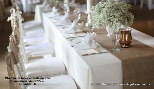 chemin de table Shabby-Chic-Jute-naturel-Jute-ruban-de-mariage-chemin-de-Table-location seine et marne