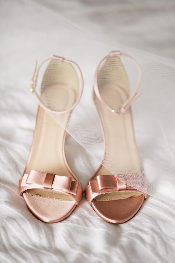 chaussure de mariee rose gold