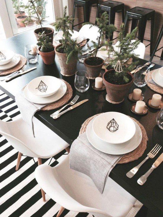 Decoration table de noel gris et noir