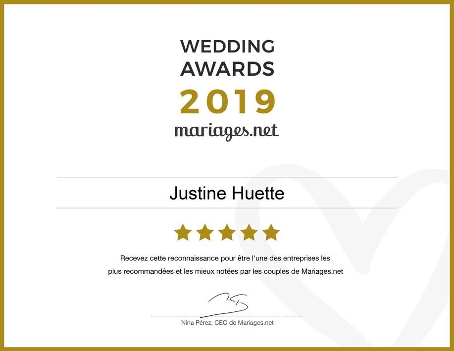 Wedding Awards 2019 - Justine Huette - Mariaged.net